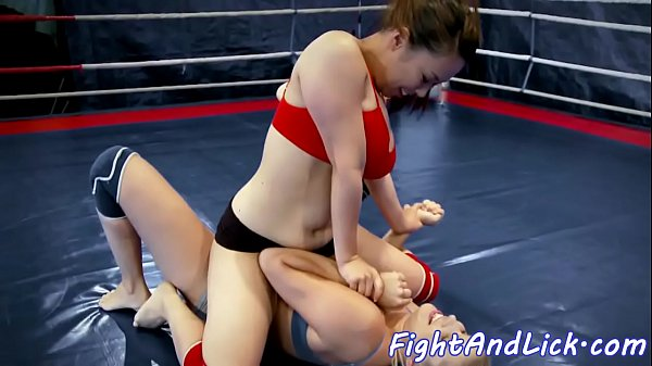 Asian, Wrestling strapon, Asian busty